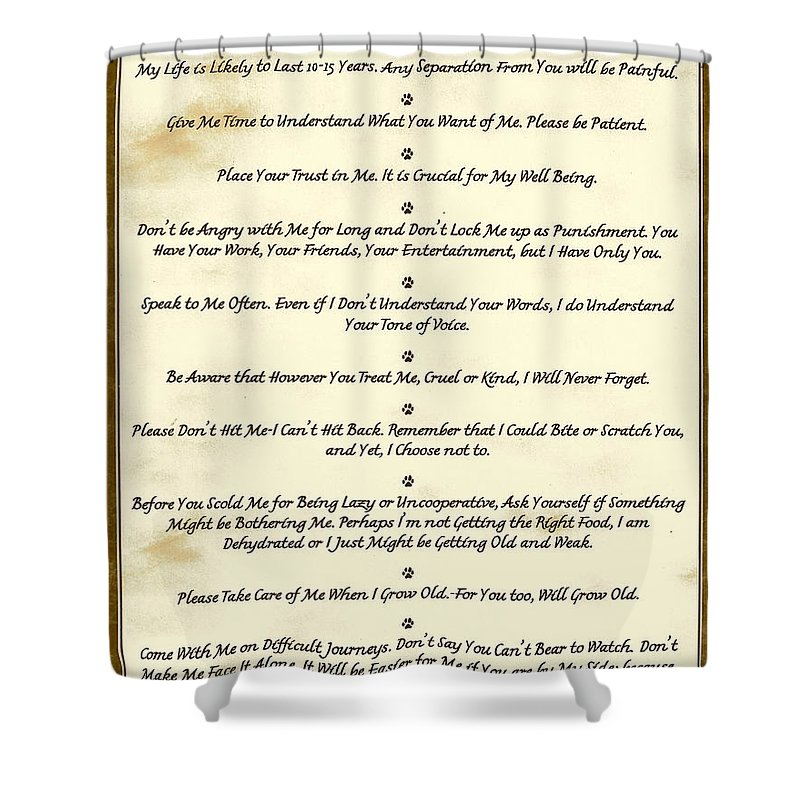 Pet Shower Curtain featuring the mixed media The 10 Commandments For Pets Antique Marble by Desiderata Gallery