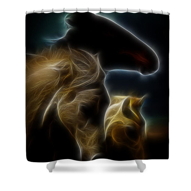 Horse Shower Curtain featuring the photograph The 3 Shadow Horses by Steve McKinzie