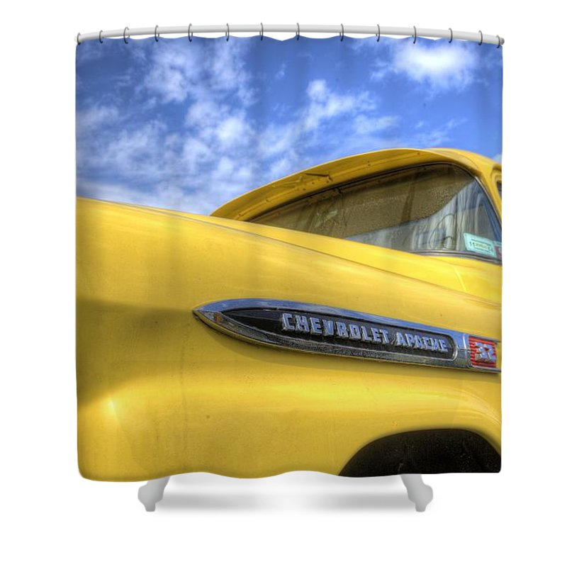Chevy Apache Pick Up Truck Shower Curtain featuring the photograph The 59 Yellow Apache by Steve Gravano