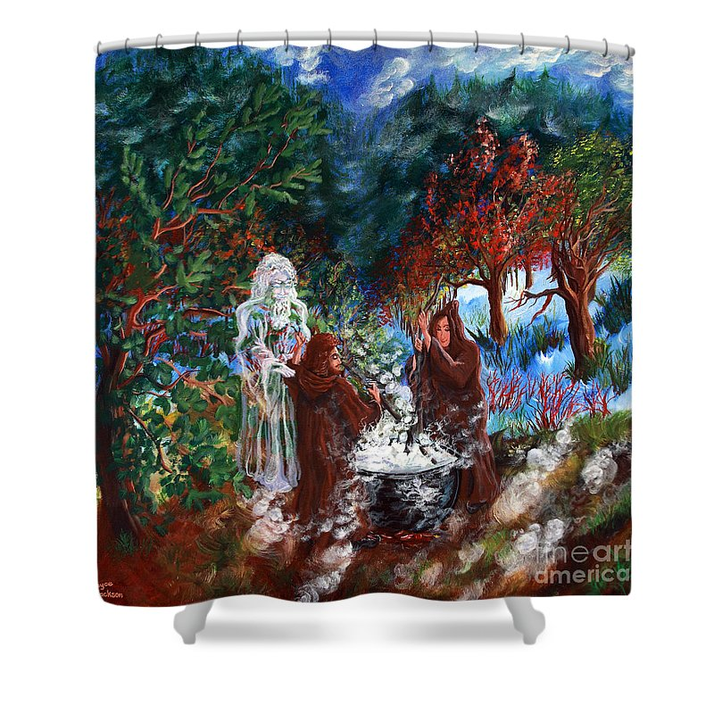 Spiritual Shower Curtain featuring the painting The Alchemists by Joyce Jackson