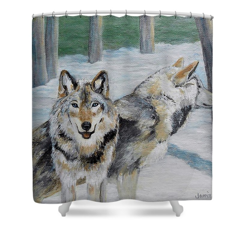 Animal Shower Curtain featuring the painting The Alpha Team by Jamie Frier