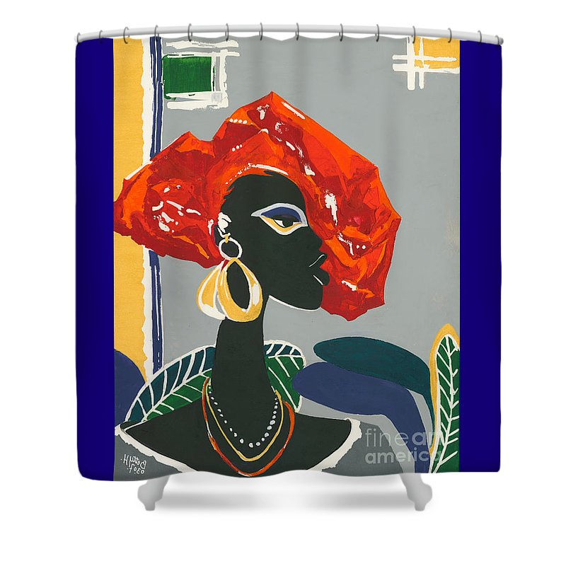 Black Shower Curtain featuring the painting The Ambassador by Elisabeta Hermann