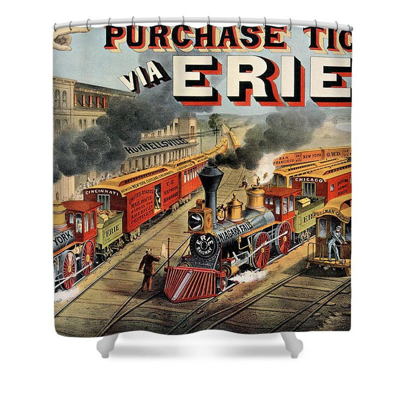 Train Shower Curtain featuring the painting The American Railway Scene by Currier and Ives