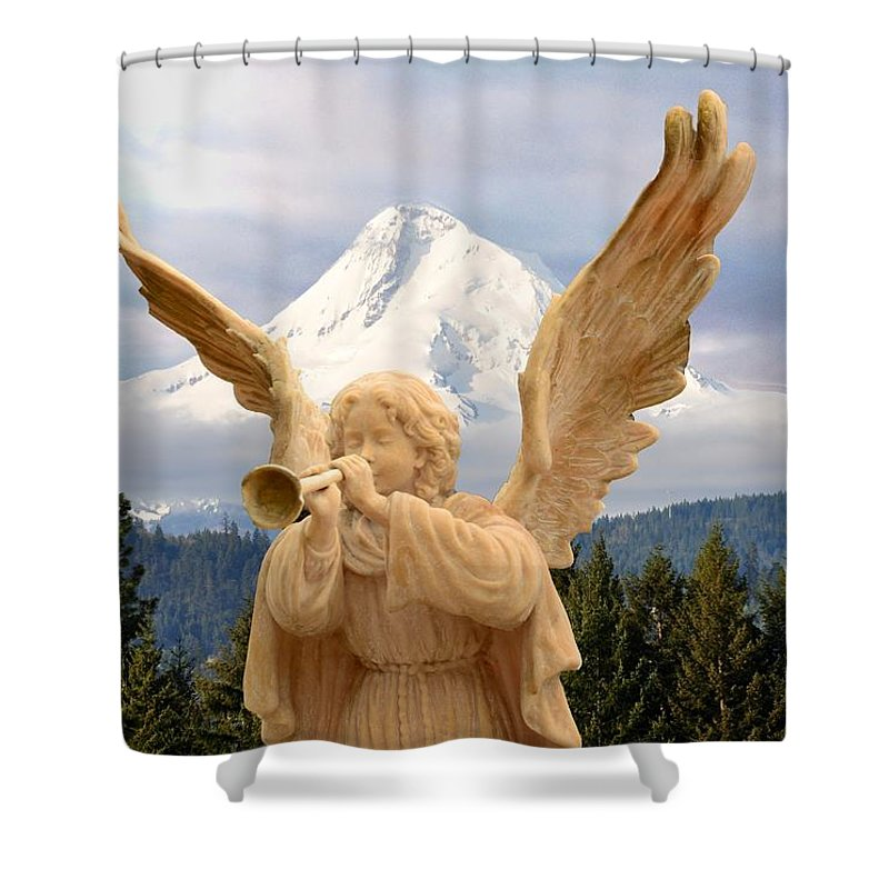 Hood River Shower Curtain featuring the photograph Sounds Of The Angel by Image Takers Photography LLC - Carol Haddon