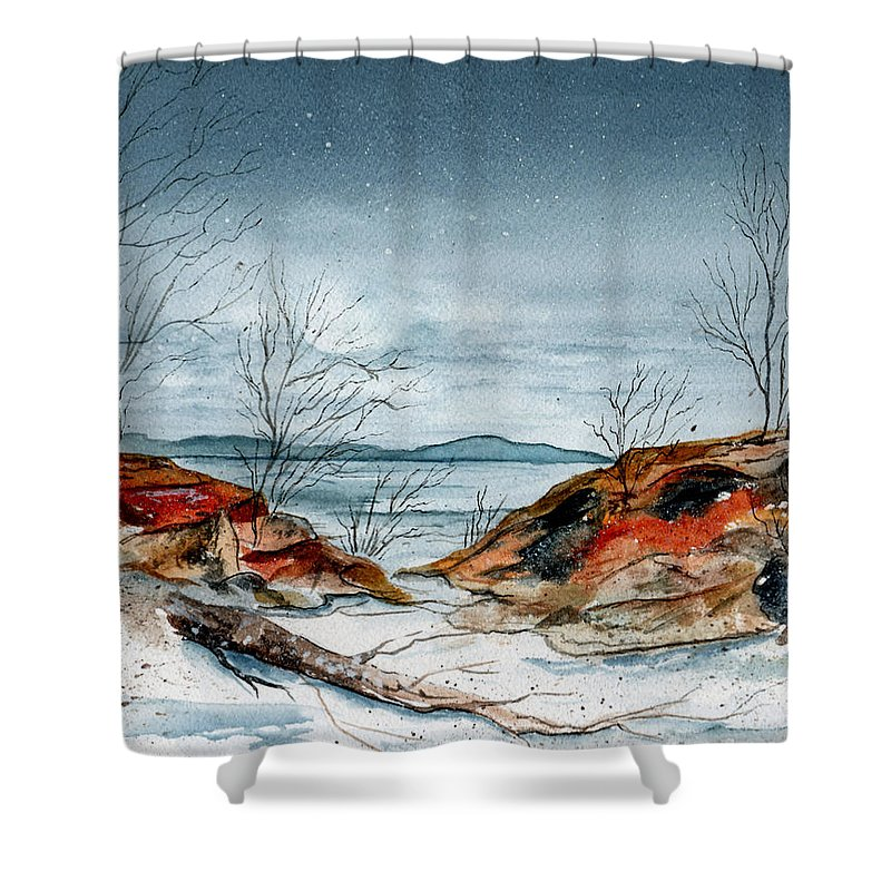 Watercolor Shower Curtain featuring the painting The Approaching Evening by Brenda Owen