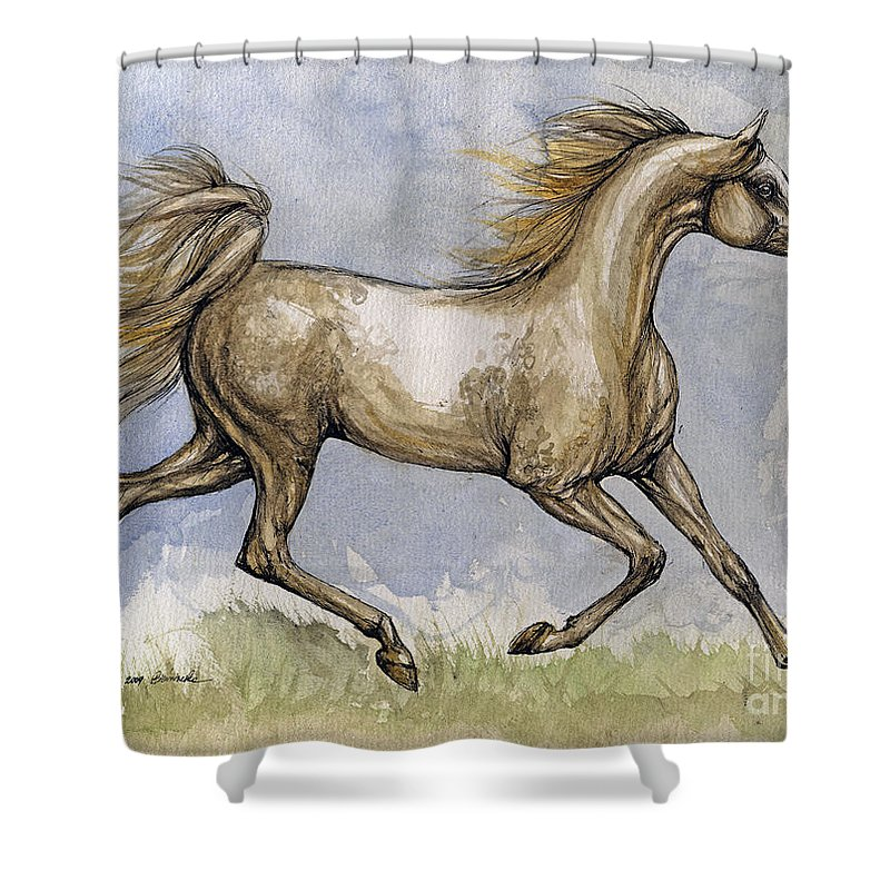 Mare Shower Curtain featuring the painting The Arabian Mare Running by Angel Ciesniarska