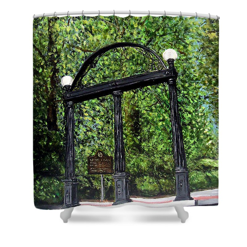Merveilleux Uga Shower Curtain Featuring The Painting The Arch At Uga By Katie Phillips