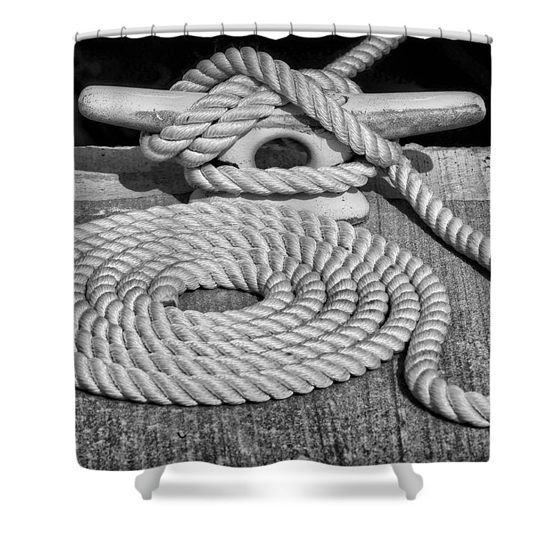 Dock Shower Curtain featuring the photograph The Art Of Rope Lying by Nikolyn McDonald