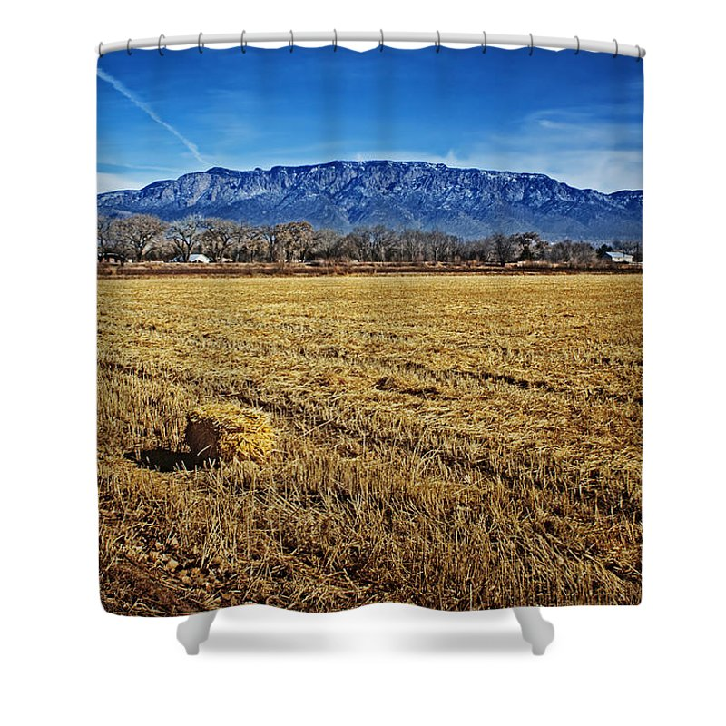 Hay Bale Shower Curtain featuring the photograph The Bale - Sandia Mountains - Albuquerque by Nikolyn McDonald