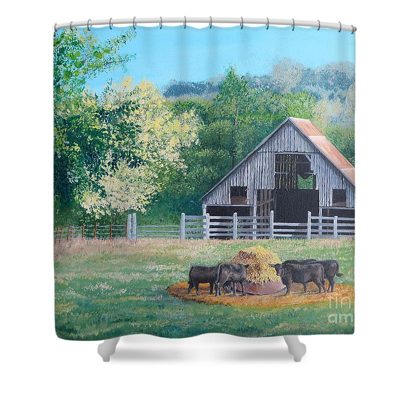Pastoral Scene. The Barn Shower Curtain featuring the painting The Barn by Alicia Fowler