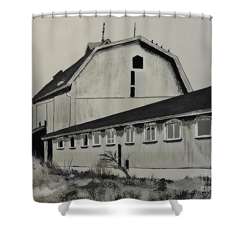 The Barn Shower Curtain featuring the painting The Barn Circa 1967 by Lise PICHE