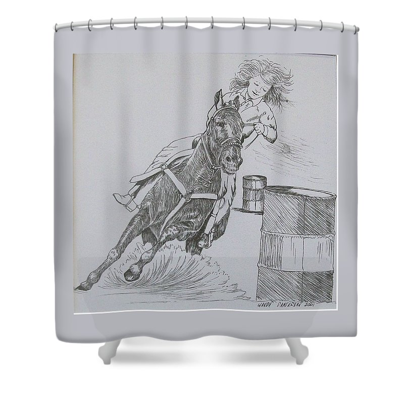 Black And Grey Black Poster Shower Curtain featuring the drawing The Barrel Racer by Wanda Dansereau