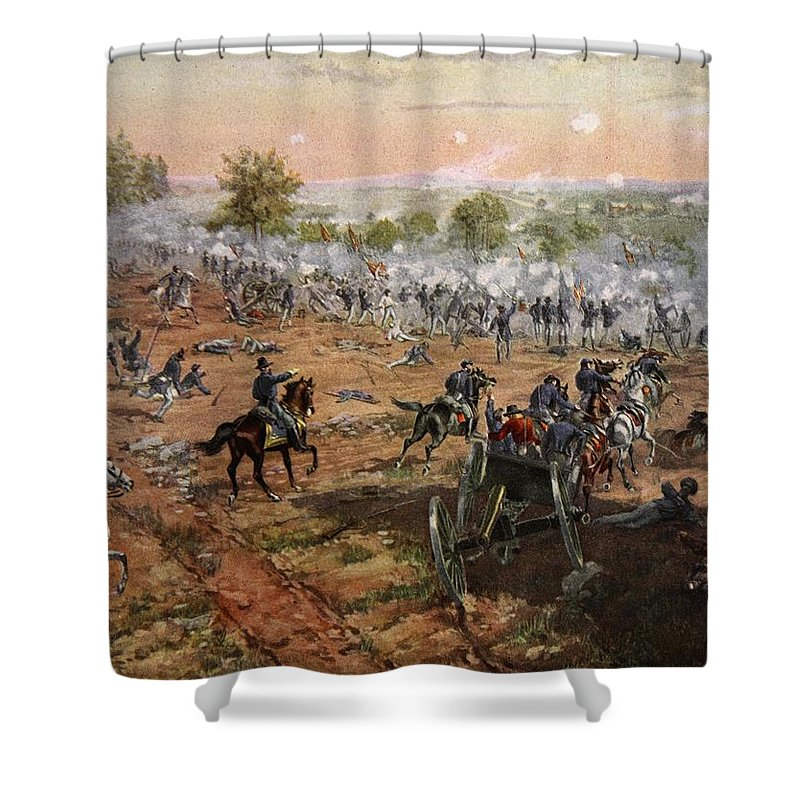 Attack Shower Curtain featuring the drawing The Battle Of Gettysburg, July 1st-3rd by Henry Alexander Ogden