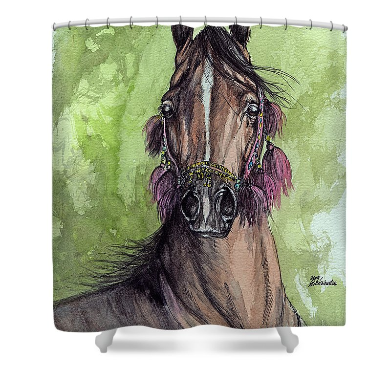 Horse Shower Curtain featuring the painting The Bay Arabian Horse 16 by Angel Ciesniarska