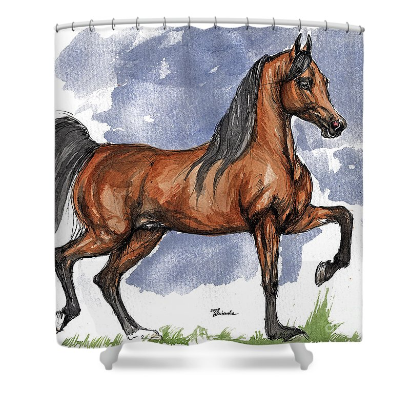 Bay Shower Curtain featuring the painting The Bay Arabian Horse 17 by Angel Ciesniarska
