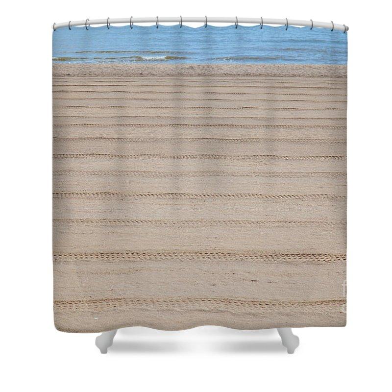 Sun Shower Curtain featuring the photograph The Beach At Sutton On Sea by Shaun Wilkinson