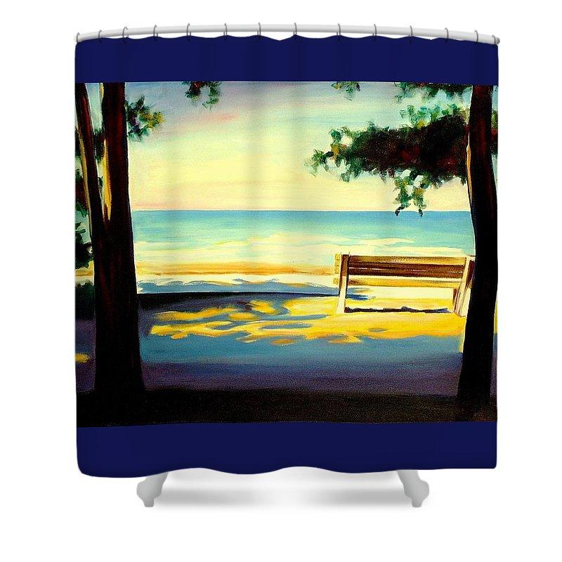 Beach Shower Curtain featuring the painting The Beach by Sheila Diemert
