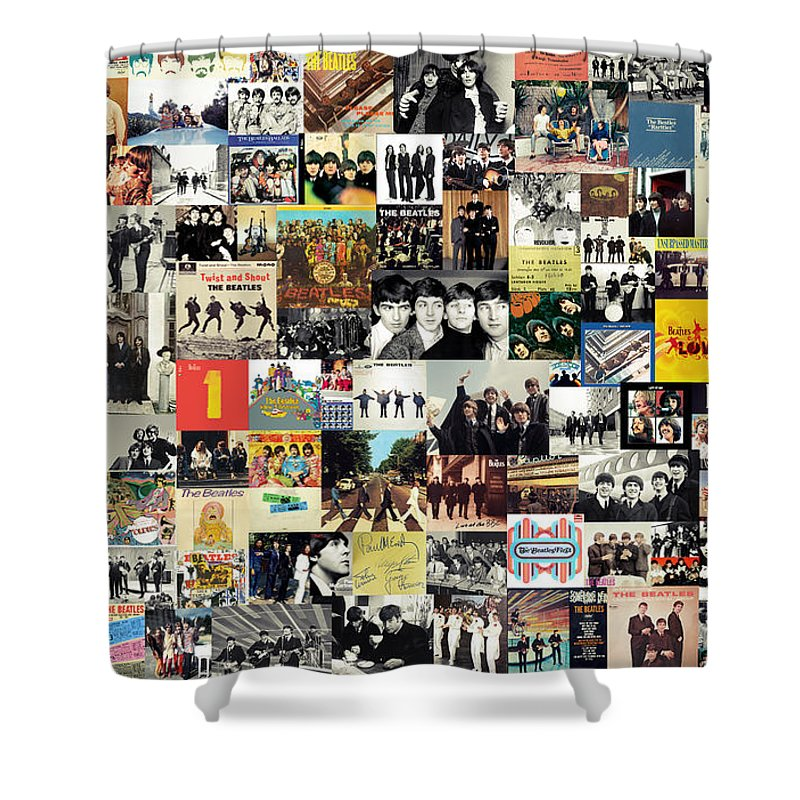 The Beatles Shower Curtain featuring the digital art The Beatles Collage by Zapista Zapista