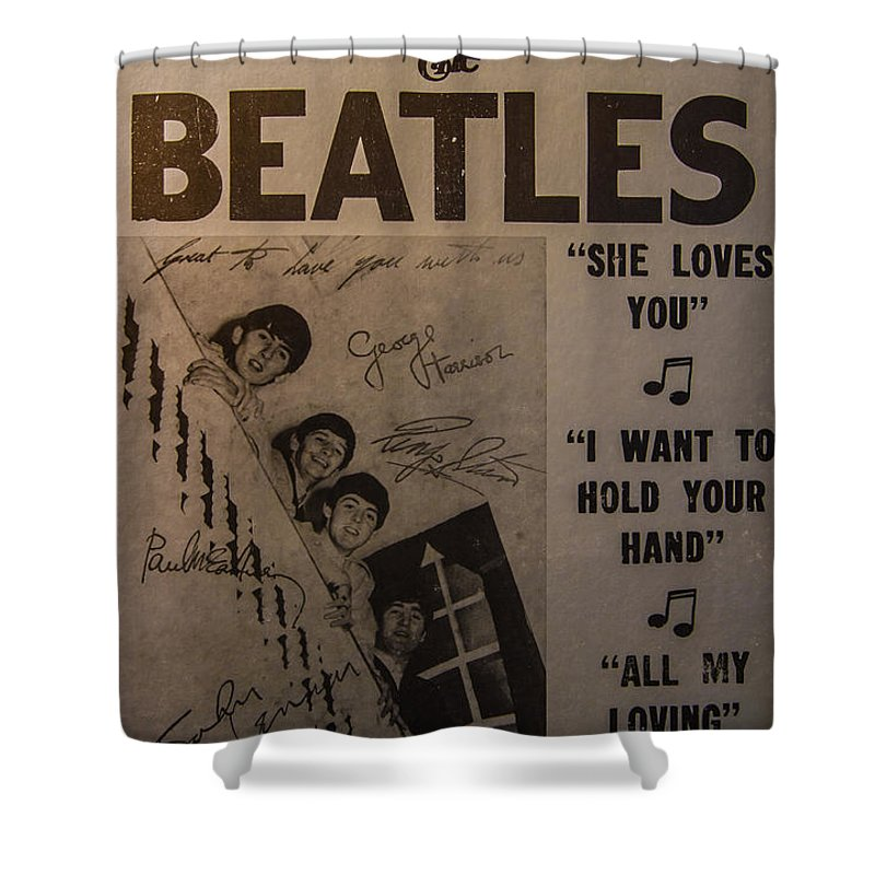 The Beatles Ed Sullivan Show Poster Shower Curtain featuring the photograph The Beatles Ed Sullivan Show Poster by Mitch Shindelbower