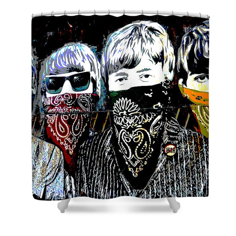 Banksy Shower Curtain featuring the photograph The Beatles wearing face masks by RicardMN Photography