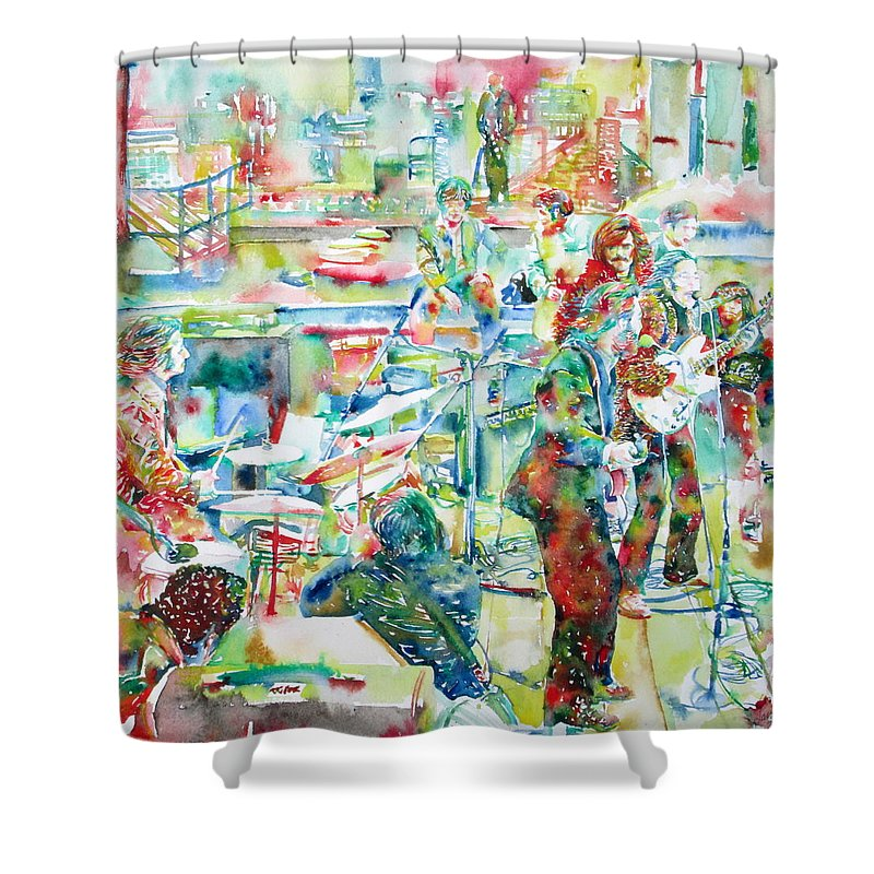 Beatles Shower Curtain Featuring The Painting The Beatles Rooftop Concert    Watercolor Painting By Fabrizio Cassetta