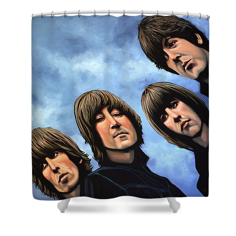 The Beatles Shower Curtain featuring the painting The Beatles Rubber Soul by Paul Meijering