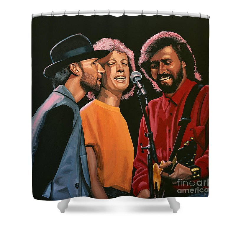 The Bee Gees Shower Curtain featuring the painting The Bee Gees by Paul Meijering