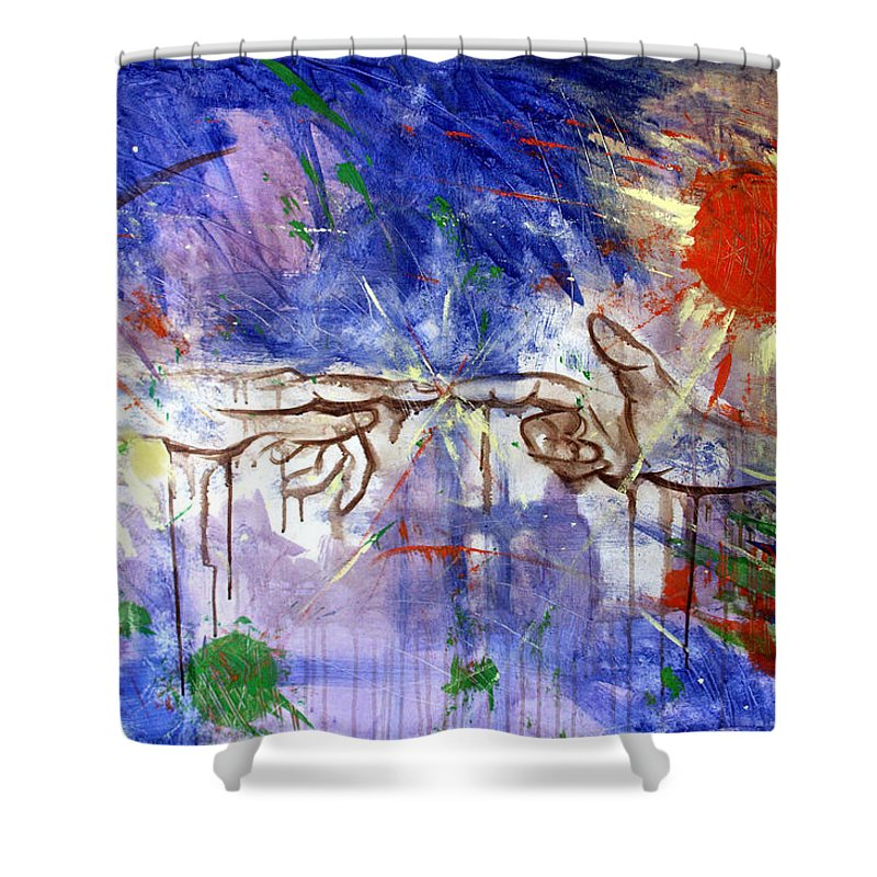Abstract Shower Curtain featuring the painting The Beginning by Anthony Falbo