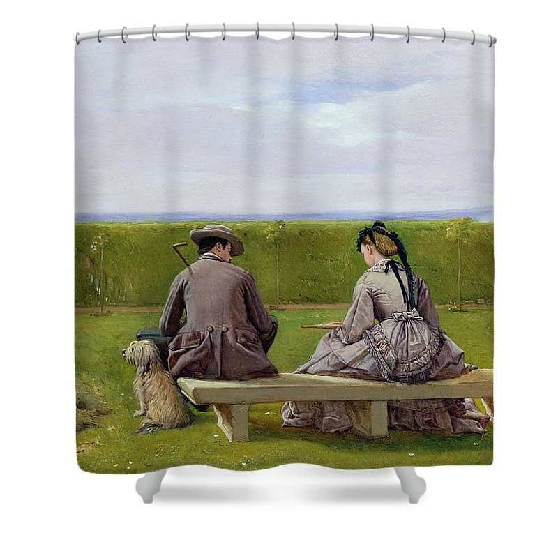 The Bench By The Sea Shower Curtain for Sale by Eyre Crowe