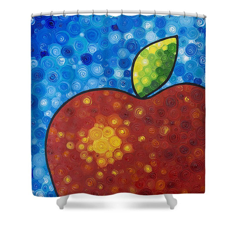 Food And Beverage Art Shower Curtain featuring the painting The Big Apple - Red Apple By Sharon Cummings by Sharon Cummings