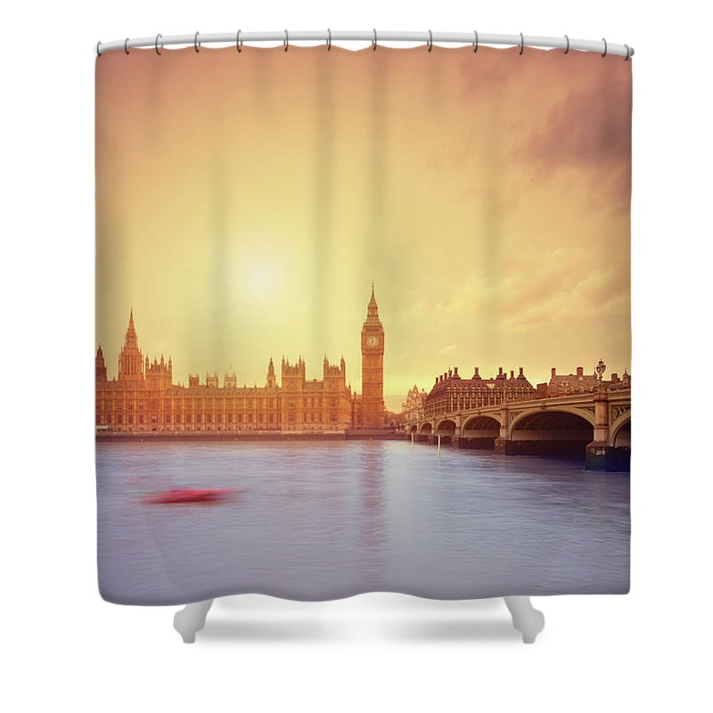 Clock Tower Shower Curtain featuring the photograph The Big Ben And Parliament In London by Mammuth