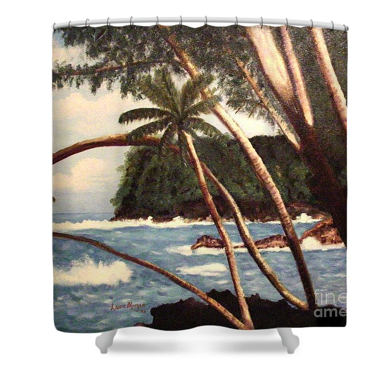 Hawaii Shower Curtain featuring the painting The Big Island by Laurie Morgan