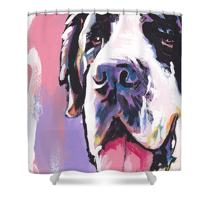 St. Bernard Shower Curtain featuring the painting The Big Saint by Lea S