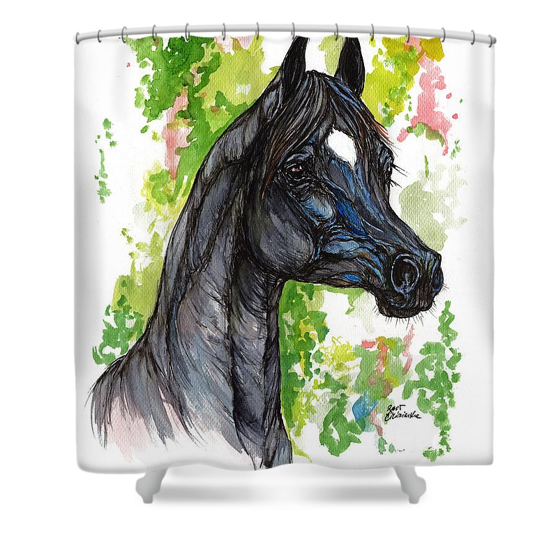 Psychodelic Shower Curtain featuring the painting The Black Horse 1 by Angel Ciesniarska