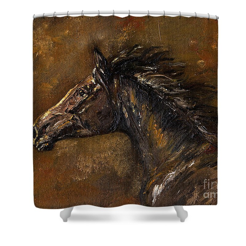 Horse Shower Curtain featuring the painting The Black Horse Oil Painting by Angel Ciesniarska