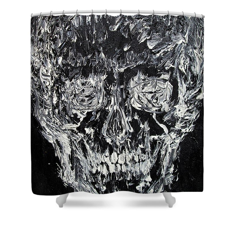 Skull Shower Curtain featuring the painting The Black Skull - Oil Portrait by Fabrizio Cassetta