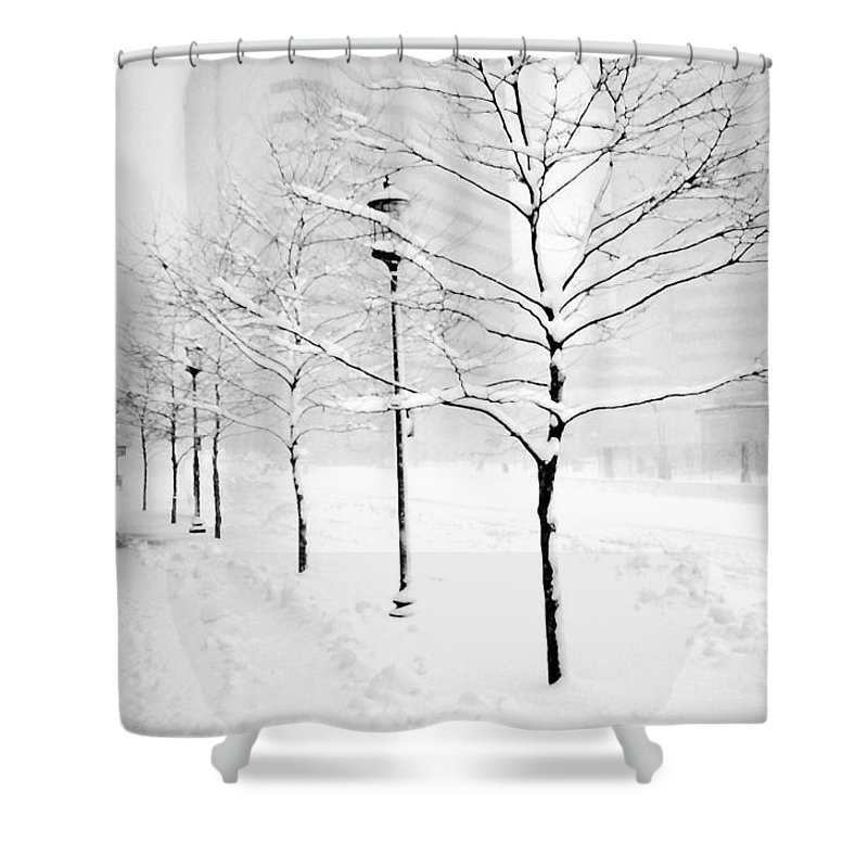 Blizzard Shower Curtain featuring the photograph The Blizzard Bw by Mike Nellums