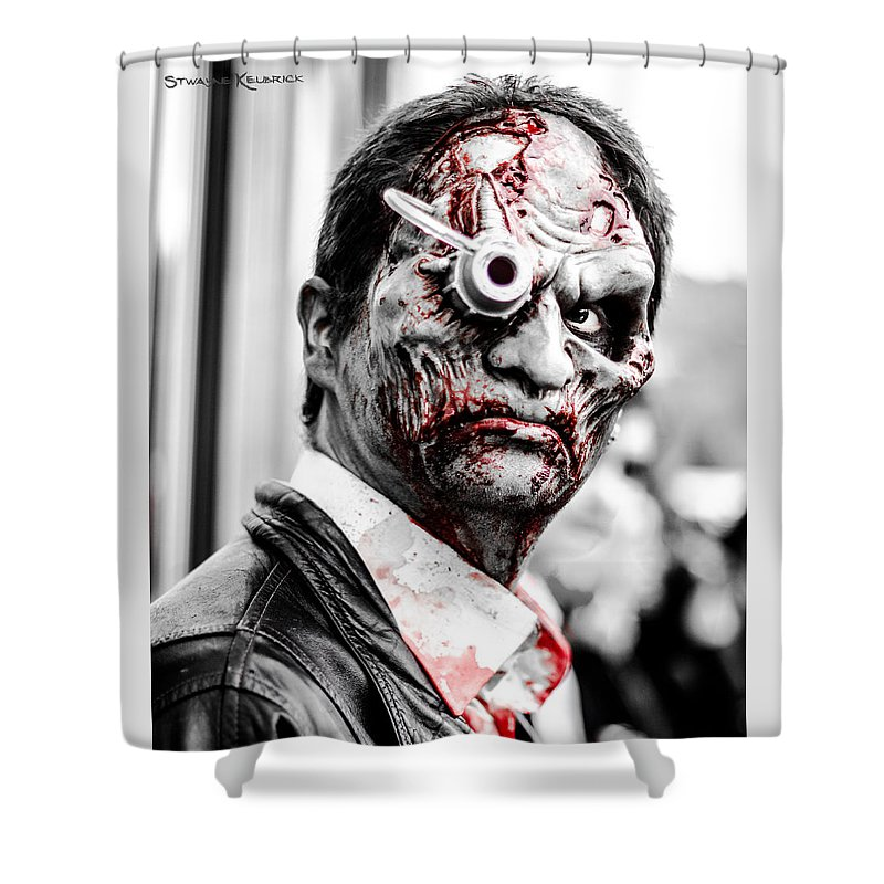 Zombie Walk 2013 Shower Curtain featuring the photograph The Bloody Devil by Stwayne Keubrick