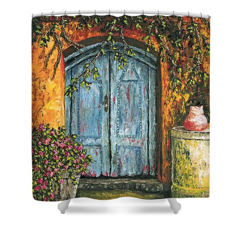 Door Shower Curtain featuring the painting The Blue Door by Darice Machel McGuire