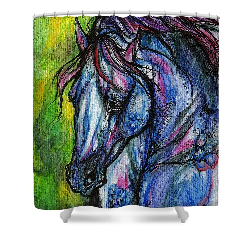 Horse Shower Curtain featuring the painting The Blue Horse On Green Background by Angel Ciesniarska