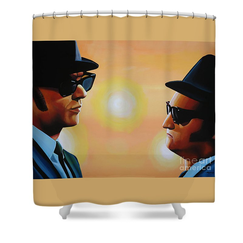 The Blues Brothers Shower Curtain featuring the painting The Blues Brothers by Paul Meijering