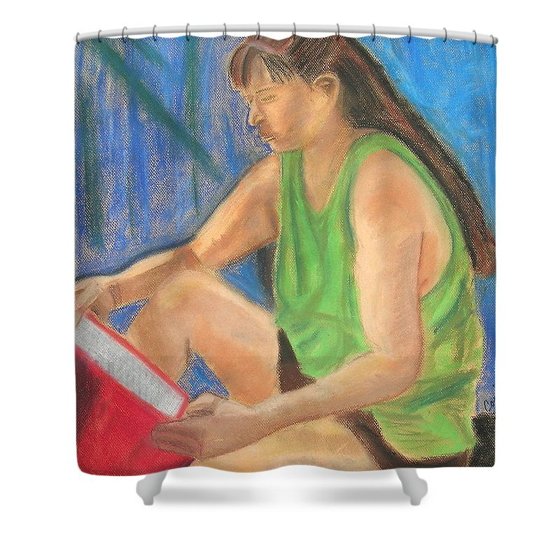 Girl Shower Curtain featuring the pastel The Book Worm by Cori Solomon