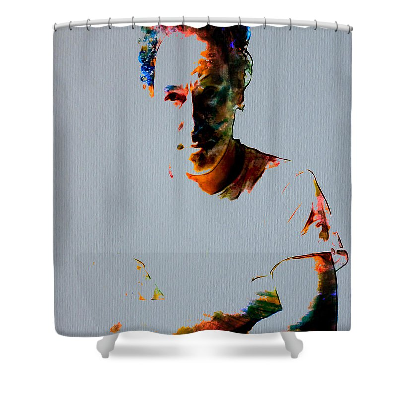 Bruce Springsteen Shower Curtain featuring the painting The Boss Bruce Springsteen by Brian Reaves