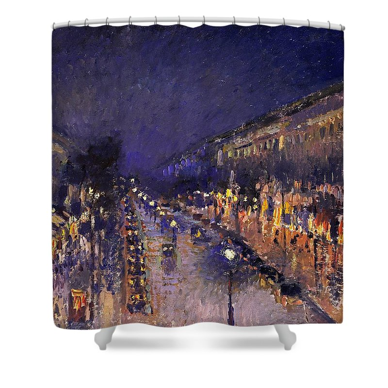 Camille Pissarro Shower Curtain featuring the painting The Boulevard Montmartre At Night by Camille Pissarro