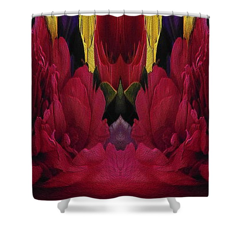 Abstract Shower Curtain featuring the digital art The Bouquet Unleashed 91 by Tim Allen