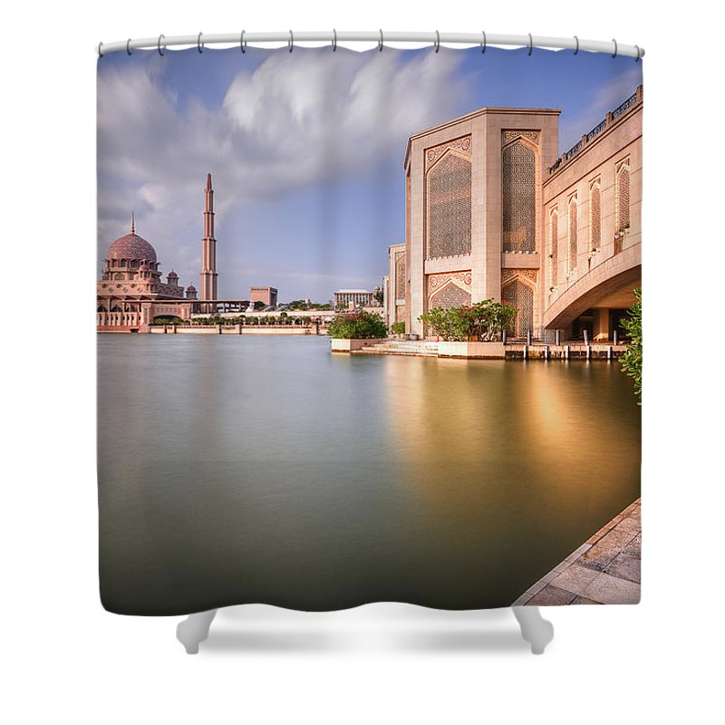 Tranquility Shower Curtain featuring the photograph The Bridge And The Mosque by Khasif Photography