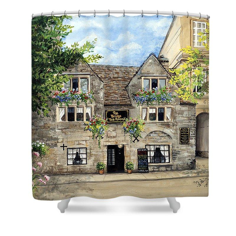 The Bridge Tea Rooms Shower Curtain featuring the painting The Bridge Tea Rooms by Mary Palmer