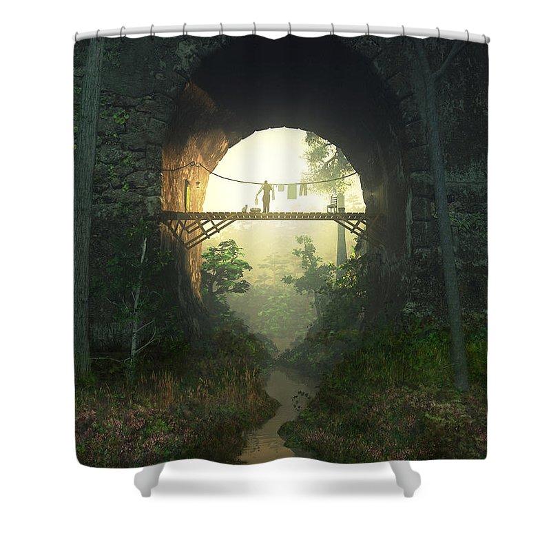 Bridge Shower Curtain featuring the digital art The Bridge Under The Bridge by Cynthia Decker
