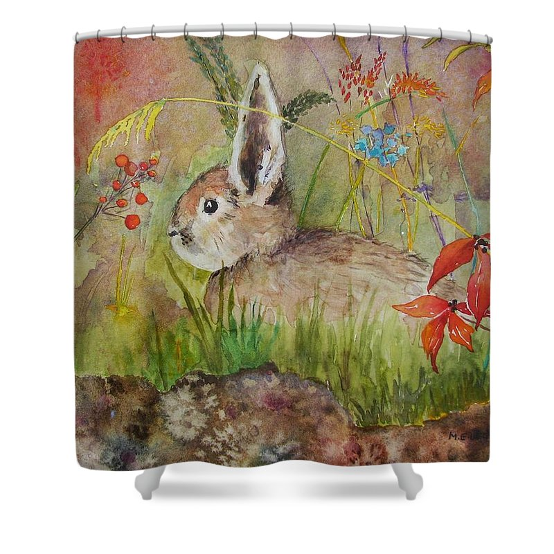 Nature Shower Curtain featuring the painting The Bunny by Mary Ellen Mueller Legault