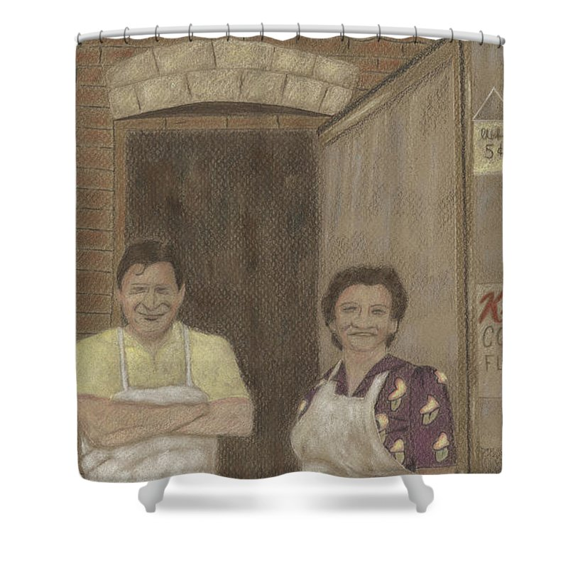 Market Shower Curtain featuring the drawing The Butcher And His Wife by Arlene Crafton